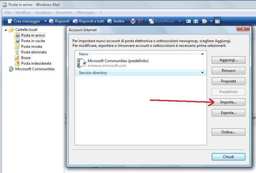 Importazione Account in Windows Mail