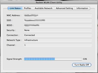 Schermata Utility Realtek WLAN